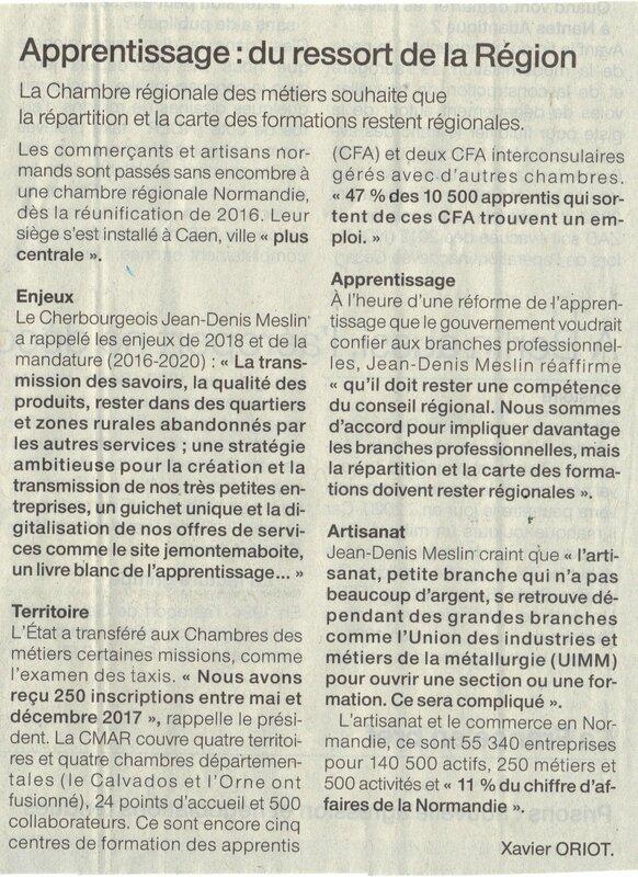 APPRENTISSAGE: Les artisans préfèrent la Normandie au MEDEF