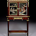 A French late 19th century ormolu-mounted mahogany, satiné and Coromandel lacquer <b>bonheur</b> du <b>jour</b>