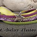 Une petite boisson anisée avec cette chaleur !, Non, un bracelet couleur anis et violet avec des <b>passants</b> étoiles à la place !