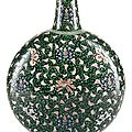 A very rare famille verte <b>black</b>-<b>ground</b> moon flask, China, Yongzheng period