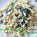 <b>Fusilli</b> au poulet  la Milanaise au mascarpone et aux pinards