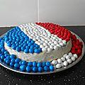 Gâteau : Drapeau de la France: bleu, blanc, rouge avec des m&m'<b>s</b>
