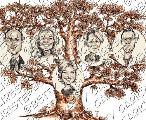 Arbre Généalogique - portraits famille - Betty caricaturiste - portraitiste