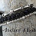 Trio de <b>bracelets</b> en perles à porter en simultané ou à l'unité, composé, d'un <b>bracelet</b> perles longues et ses étoiles, d'un brace