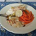 Maquereaux en portefeuille et légumes vapeur à la sauce au <b>basilic</b>