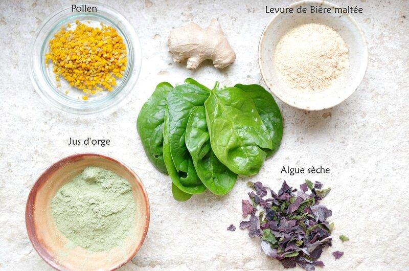 Jus vert revitalisant ingrédients