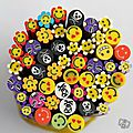 Lot de 20 cannes fimo smileys divers 5 cm