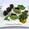 Kebab de canard, fèves en 2 façons au <b>citron</b> ( concours Stéphane Deccoterd )