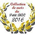 <b>Collection</b> de mots du Petit Bac 2016