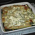 Lasagnes aux épinards, <b>saumon</b> et chèvre frais