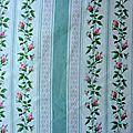 1874 <b>Tissu</b> <b>ancien</b> Petites fleurs et rayures fond ecru
