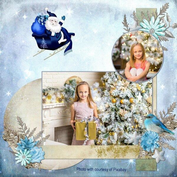template Louise 1- page de flomelle - kit Waiting for Santa de LouiseL - photo Pixabay