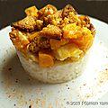 <b>Poulet</b> à l'orange, patate douce et miettes de pain d'épices