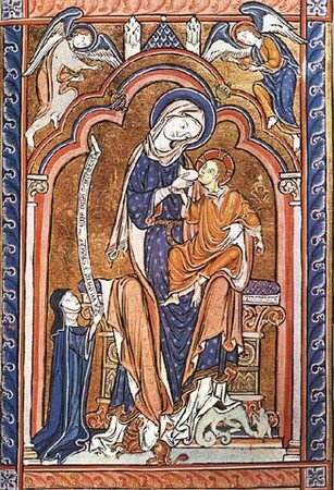 GOTHIC____VIRGIN_AND_CHILD_WITH_DONOR__1240_1250__MANUSCRIPT
