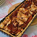 Tarte au Lapin Crmeux, aux <b>Tomates</b> sches et  la Tapenade en Pte de Polenta