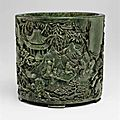 A Superb Green Jade <b>Brush</b> <b>Pot</b>, bitong. Qianlong Period (1736-1795)
