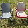 Coup de jeune sur mes chaises PVC de jardin grâce à la <b>peinture</b> !