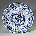 A rare <b>blue</b> and white 'Grapes' dish, Yongle period