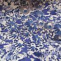 tissu ancien cotonnade decor de <b>fleurs</b> <b>bleu</b>