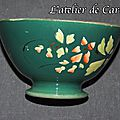 <b>Bol</b> ancien Choisy le roi décor frise verte décor de fleurs
