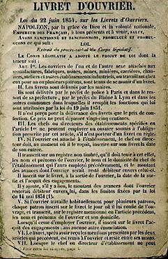 livret_d_ouvrier_loi_du_22_juin_1854