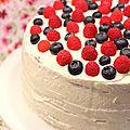 Naked cake (aux framboises et <b>myrtilles</b>)