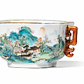 A rare famille rose 'Tang Ying' '<b>landscape</b>' cup, Qianlong period (1736-1795)