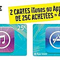 Promo iTunes du 9 au 19 Avril 2014 chez <b>Casino</b> : 2 cartes de 25€ = 40€