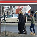 Ce matin ...protestation de travailleurs....