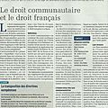 Droit communautaire et droit français: quelques exemples (articla La Terre)
