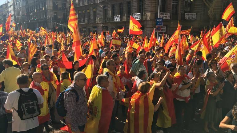Manifestants pro Espagne Barcelone