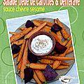 Salade de carottes et de betteraves rôties sauce sesame chèvre