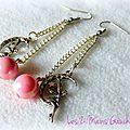 Des perles roses ... des fées ... des boucles d'oreille !