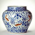 Jar with fish in <b>lotus</b> pond, Ming dynasty (1368-1644), Reign of the Jiajing emperor (1522-1566)