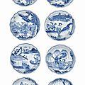 Eight small blue and white dishes, Chongzhen period, circa 1643