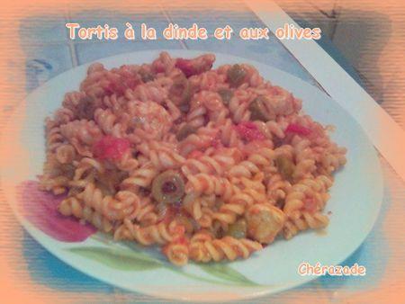 recettes plats  Tortis à la dinde et aux olives