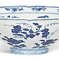 A fine and rare blue and white lobed '<b>fruit</b> and flower' bowl, Mark and period of Xuande (1426-1435)