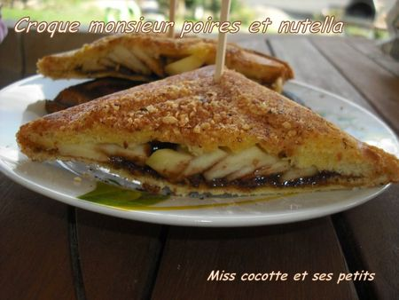 croque monsieur poires nut nutella