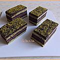 Cake type napolitain pistache, cacao & crème chocolat