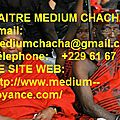 <b>TEMOIGNAGES</b> AFFECTION : MARABOUT AFRICAIN CHACHA
