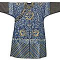 A <b>blue</b>-ground silk and gold thread embroidered nine dragon robe, China, 19th century