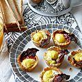 Mini coupes tout en un pour le brunch, des <b>oeufs</b> de caille, du chorizo et de la tomme de brebis pour la Foodista Challenge