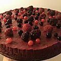Mousse de <b>fruits</b> rouges sur génoise
