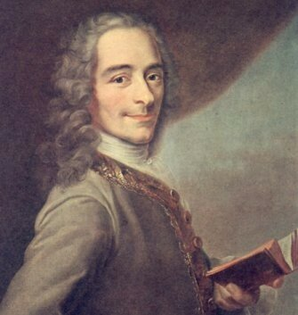 Voltaire reading a book