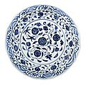 A rare large blue and white 'floral scroll' dish, Yongle period