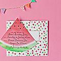 Des cartes d'<b>invitations</b> et des enveloppes avec des pastèques (à imprimer - gratuit)