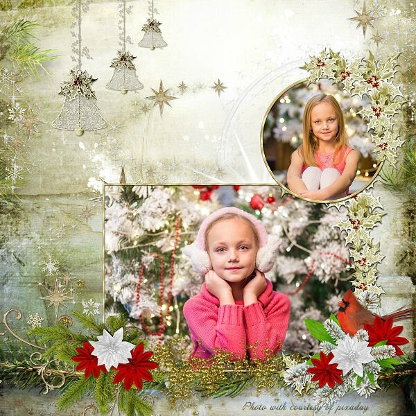 template Louise 1- page de Louise - kit The magic of Christmas, photo pixabay