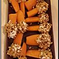 Bâtonnets de carotte, fromage frais et riz <b>soufflé</b>