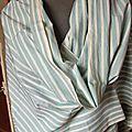 POPELINE DE COTON, fines rayures, <b>tissu</b> <b>ancien</b> rayures belle qualité Française