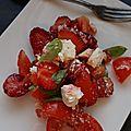 SALADE De Tomates Fraises Feta et Basilic